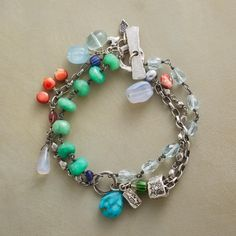 """BLISSFUL BRACELET--Strands of chrysoprase and aquamarine revel in the colorful presence of turquoise, chalcedony and spiny oyster in Jes MaHarry's handcrafted sterling silver bracelet. USA. Exclusive. 7-1/2""""L."""