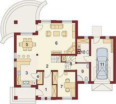 Damokles - Rzut parteru Modern House Design, Floor Plans, Diagram, Garden, Garten, Lawn And Garden, Gardens, Modern Home Design, Gardening