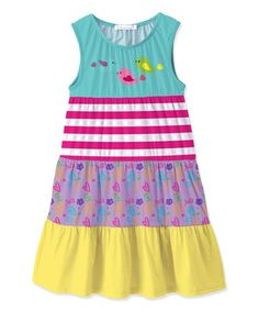 This Turquoise & Purple Heart Colorblock Shift Dress - Toddler & Girls is perfect! #zulilyfinds