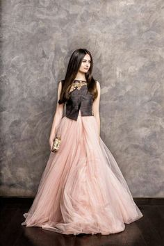 Shyamal & Bhumika pink flowing gown for wedding reception.