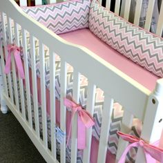Pink and Gray Chevron 4pc. Girl Crib Bedding Made to Order. $365.00, via Etsy.