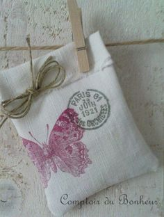 ≈ stamped cotton bag...love, love, love this. Fill with lavender.  Use stamps and color of personal choice.