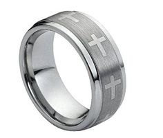 Tungsten Ring Engraved Crosses Throughout and Brushed Center Finish 9mm Wedding Band for Men / Women