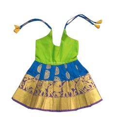 New Born Silk Frock Blue and Green Ethnic Traditional Dress Lehenga Choli Indian Baby Girls and Kids Golden Yellow Color, Green Colors, Cute Baby Boy Photos, Indian Baby Girl, Saree Dress, Lehenga Choli, Baby Month By Month, Indian Wear, Special Occasion Dresses