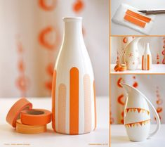 Decorate your inexpensive blank vases with masking tape-24 DIY Creative Ideas