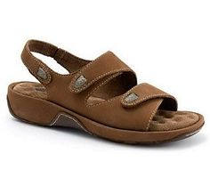 Beat the heat this summer with this sure-fit sandal. Three adjustable straps--two top straps plus an ankle strap--have hidden elastic goring that allows a unique custom fit and easy on-and-off ability. Leather Slippers, Leather Sandals, Shoes Sandals, Toe Injuries, Running Sneakers, Buy Shoes, Shoes Online, Ankle Strap, Athletic Shoes
