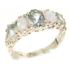 Luxury Ladies Victorian Style Solid Hallmarked Sterling Silver Aquamarine Opal Band Ring - Finger Sizes 5 to 12 Available - Suitable as an Eternity ring, Engagement ring, Promise ring, Anniversary ring or Wedding ring >>> See this great product. Wedding Ring Hand, Wedding Jewelry, Wedding Rings, Opal Band Ring, Band Rings, Black Hills Gold Jewelry, Thing 1, Engagement Ring Sizes, Eternity Ring