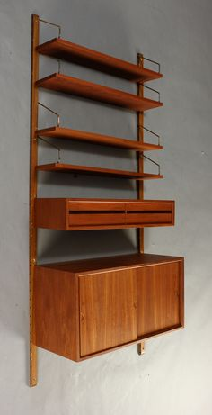 Poul Cadovius; Teak and Brass 'System Royal' Shelving, 1960.