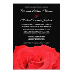 Gothic Wedding Invitations Red Rose and Black Wedding Invitations
