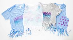 Tie Dye and Beaded Fringe Shirts | 12 DIYs That'll Take Your Festival Wardrobe to the Next Level | http://www.hercampus.com/style/12-diys-will-take-your-festival-wardrobe-next-level
