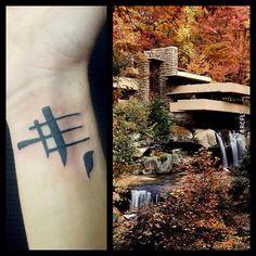Tatuaje la casa en la cascada