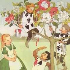 Vintage Alice In Wonderland Print Illustration - Red Rose Tree. $10.00, via Etsy.