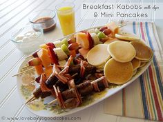 Cooking with Kids:  Breakfast Kabob Recipe with Mini-Pancakes and Dips