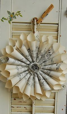 STEPHANIE----old paper wreath - great way to use up old books....there is also a youtube video showing how to make one of these.  Basically you staple the individual pages into cones and them glue or staple them onto a backer - the bigger the pages and the more layers you do - the bigger the wreath
