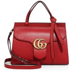 Gucci GG Marmont Leather Top-Handle Bag (112.065 RUB) ❤ liked on Polyvore featuring bags, handbags, apparel & accessories, red, genuine leather shoulder bag, gucci purses, red purse, red leather shoulder bag and leather shoulder handbags