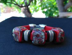 Regaliz Bracelet, Genuine Red Leather with Handmade Lampwork Silver Galaxy Beads Tiny Necklace, Glass Necklace, Handmade Beads, Lampwork Beads, Gifts For Women, Red Leather, Glass Beads, Cuff Bracelets, Cuffs