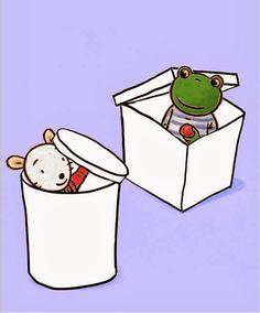 (2014-08) Nellie og Cezar sidder i skraldespand og kasse