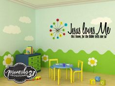 Jesus Loves Me Vinyl Wall Decal by Proverbs31Design on Etsy Simple, yet truthful, Jesus Loves me decal.Remind you little ones that Jesus loves the. This simple decal says a thousand words. Place it over your little ones bed or crib so its seen at the beginning and end of every day. Stick it to their bathroom mirror as a daily reminder when they brush their teeth or wash their little hands. This also makes a great addition to a Church nursery, bathroom, foyer or youth center. #jesuslovesme