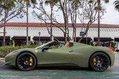 Matte Green #Ferrari 458 Italia by Platinum Motorsports