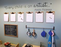 Great idea to display artwork in the classroom!