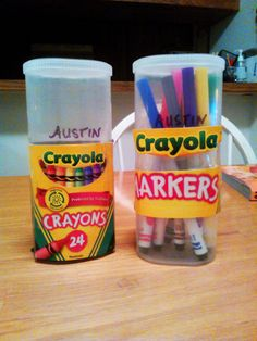 My son always comes home with a mess of nasty broken, crushed, waxy crayons in the bottom of his backpack.  Those Crayola boxes never hold up.   So, i used empty crystal light containers to make him protective, easy open crayon and marker holders!