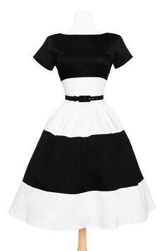 Amanda Dress in White and Black