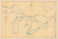 Great Lakes Map 1938 by NauticalChartPrints on Etsy
