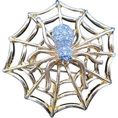 Goldtone Spider Web Pin and Pendant found at www.rubylane.com @rubylanecom