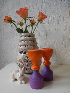 2 funky ceramic egg cups by Veryodd on Etsy, $29.95
