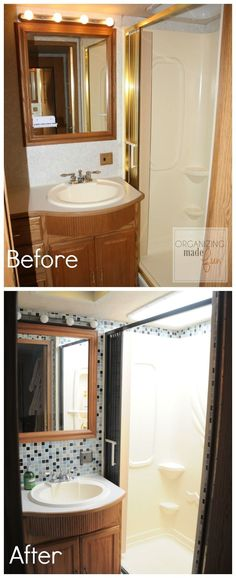 RV bathroom BEFORE and AFTER with brass shower :: OrganizingMade Fun.com