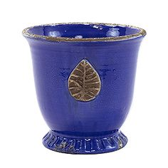 Vietri Cobalt Med Leaf Cachepot Outdoor Planters, Planter Pots, Italian Villa, Rustic Gardens, Tuscany, Terracotta, Cobalt, Artisan, Leaves