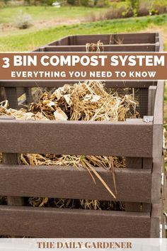 3 Bin Compost System: Everything You Need to Know! - The Daily Gardener Best Compost Bin, Making A Compost Bin, Pallet Compost Bins, Composting Bins, Composting Process, Vegetable Garden Planning, Vegetable Gardening, Veggie Gardens, Organic Gardening