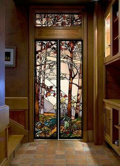 Stained Glass Door Designs With Art Deco Style - Stained Glass Door, Stained Glass Designs, Stained Glass Projects, Stained Glass Patterns, Leaded Glass, Mosaic Glass, Glass Doors, Glass Vase, Modern Stained Glass