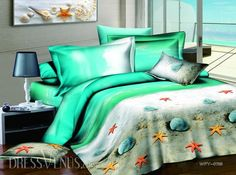 US$112.99 Romantic Light Green Shell-shape and Sandy Beach Printed 4 Piece Cotton Bedding Sets . #3D #Romantic #Green #Printed