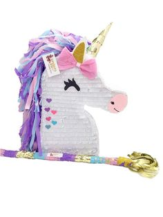Unicorn Pinata + Matching Pinata Stick Unicorn Theme Party Favors photo ideas from Amazing Party Decoration Ideas Birthday Pinata, Unicorn Themed Birthday Party, 1st Boy Birthday, Birthday Ideas, July Birthday, Rainbow Birthday, Dinosaur Birthday, Boy Party Favors, Birthday Party Decorations