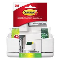 Command 17609-HWES Under Sink Caddy, 1 Holder, 4-Medium Strips + 1 Scotch-Brite Sponge Included