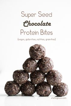 Super Seed Chocolate Protein Bites! Vegan, gluten-free, nut-free, grain-free, and sugar-free.