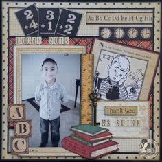 This is such a great layout by Arlene using An ABC Primer! Love this! #graphic45 #layouts #scrapbooking