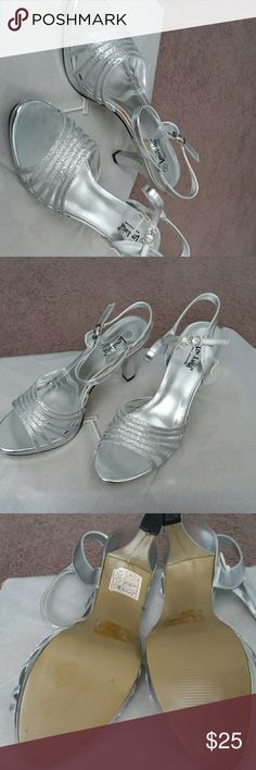 Sandal Silver sandal with shimmer straps and adjustable buckle new never worn Lena Luisa Shoes Heels
