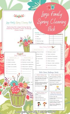 Free Printable - Large Family Spring Cleaning Pack