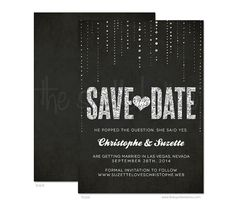 Glitter Look Wedding Save The Date Announcements - DIY Printable or Printed Invitations on Etsy, $17.95