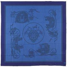 NEW Authentic Hermes GM Silk Shawl EX LIBRIS Dip Dye Blue 140 cm