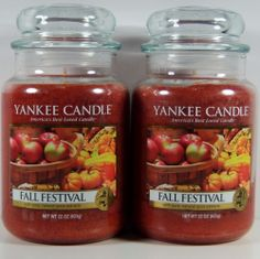 Yankee Candle Fall Festival Food Spice 22 oz Large Jar Retired VHTF Qty 2 #YankeeCandle Yankee Candle Fall, Yankee Candles, Fall Festival Food, Natural Spice, Secret Pal, Pumpkin Leaves, Smell Good, Candy Corn, Wax Melts