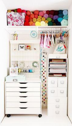 Organize sem frescuras!: Ideias para organizar o quarto de costura gastando pouco
