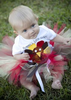 Our earthtone Thanksgiving Turkey tutu is designed with a blend of our favorite Fall colors and is topped of with beautiful matching ribbons! Little Diva Tutus.com