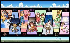 Digimon Adventure - DigiDestined with their Digimon and their Digi-Crest: Tai (Taichi) with Agumon and Crest of Courage, Matt (Yamato) with Gabumon and Crest of Friendship, Sora with Biyomon (Piyomon) and Crest of Love, Izzy (Koushiro) with Tentomon and Crest of Knowledge, Mimi with Palmon and Crest of Pure/Innocence, Joe with Gomamon and Crest of Reliabilty, T.K. (Takeru) with Patamon and Crest of Hope, Kari (Hikari) wirh Gatomon (Tailmon) and Crest of Light