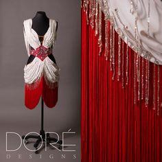 White Latin w/ Red Belt & Fringe & Crystal Beaded Fringe