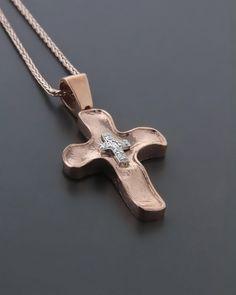Σταυρός βαπτιστικός ροζ χρυσός & λευκόχρυσος Κ14 με Ζιργκόν Cross Jewelry, Silver Jewelry, Cross Pendant, Christening, Fashion Rings, Jewelry Design, Baptism Ideas, Crosses, Gold