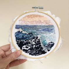 Subset, waves and rocks embroidery Hand Embroidery Art, Modern Embroidery, Silk Ribbon Embroidery, Cross Stitch Embroidery, Embroidery Patterns, Sewing Art, Sewing Crafts, Cross Stitch Pictures, Thread Painting