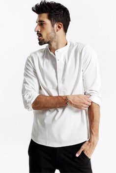 L&C's Band Collar Pop-Over Shirt White. #MensWear #MensFashion #Fashion #Shirt #MensLook #Shop